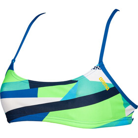 arena Play Bandeau Top Mujer, bali green multi/royal